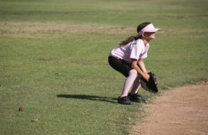 Player anxiously waiting for the softball
